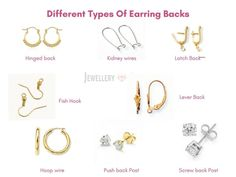 Now to keep these awesome earrings on the place, there are different types of earring backs for pierced ears, which protect them from falling Diy Jewelry Necklace, Back Jewelry, Jewelry For Her, Statement Jewelry, Jewelry Making, Types Of Earrings, Necklace Types, Clip On Earrings, Stud Earrings
