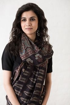Goodearth - Ajrak Paan Buta Silk Saree