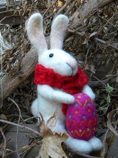 Big Bunny with scarf  needle felted ornament by feltingdreams