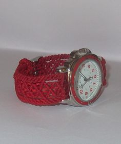 Reloj pulsera en macrame - Red one
