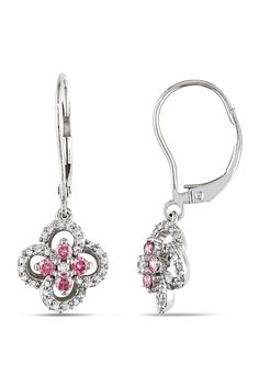0.5 ct Pink and White Diamond Earrings in 10k White Gold - Beyond the Rack