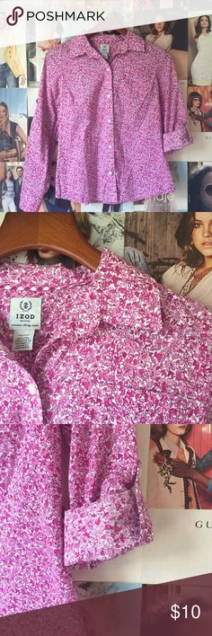 🇺🇸LABOR DAY SALE🇺🇸 PRICE FIRM Pretty in pink! Floral IZOD tan-sleeve button up top in EUC. Izod Tops Blouses