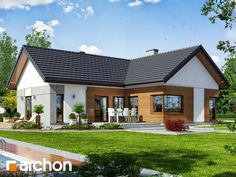 Dom w galach Beautiful House Plans, Dream House Plans, Small House Plans, Modern Bungalow House, Bungalow Exterior, Wooden House Plans, Architectural House Plans, French Country House Plans, Home Exterior Makeover