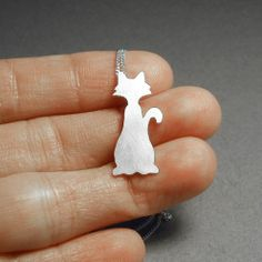 naughty cat necklace in sterling silver handmade in UK by huiyitan, £29.00