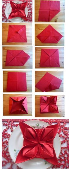 35 Beautiful Examples of Napkin Folding Napkins For Christmas Dinner For People With Too Much Time On Christmas Eve…haha All Things Christmas, Holiday Fun, Christmas Holidays, Christmas Decorations, Xmas, Christmas Tablescapes, Christmas Baking, Christmas Recipes, Navidad Diy