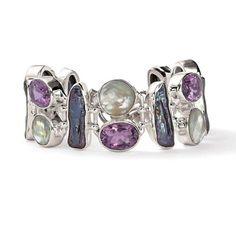 Gem-mosaic bracelet - amethyst, mother-of-pearl, labradorite  Ross-Simons Jewelry