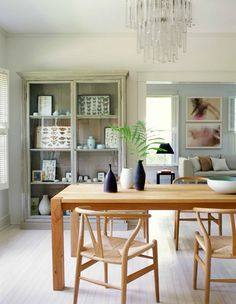 Scandinavian style open-plan dining room photographed by Roger Davies