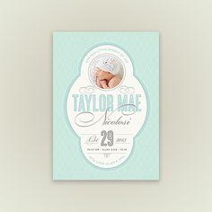 Birth Announcement - Vintage Script - Photo Baby Announcement - Set of 25 via Etsy