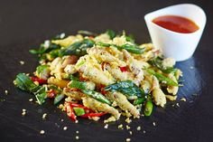 Curried tempura grasshoppers with sweet chilli sauce