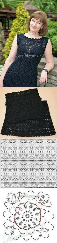 Маленькое черное платье крючком. Схемы