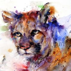 COUGAR Mountain Lion Watercolor Print by Dean Crouser. $25.00, via Etsy.