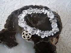 Crystal Quartz Pentacle Bracelet, wiccan jewelry pagan jewelry wicca jewelry witch metaphysical witchcraft pentagram goddess magic by Sheekydoodle on Etsy
