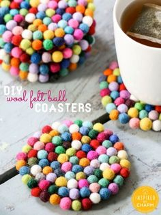 These puff-ball coasters are crazy-adorable for spring. #crafts #diy #31crafts31days