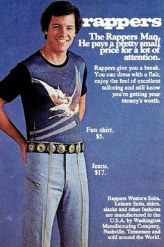 Vintage ad for Rappers Man men's fashions. Since the ad mentions leisure suits, it's probably from the 1970s.