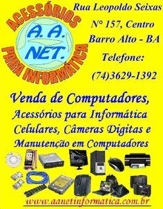 Venda de computadores, Acessórios para informática celulares, câmeras digitais e manutenção em computadores