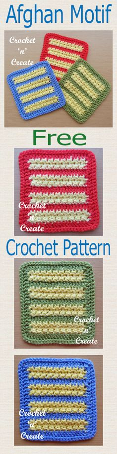 Free crochet pattern for afghan motif, use for charity blankets, throws etc.