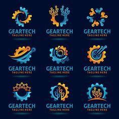 Collection of gear tech logo design Prem. Tech Branding, Tech Logos, Tech Tech, Rad Tech, Technology Wallpaper, Technology Logo, Technology Design, Logo Inspiration, Estilo High Tech