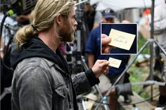 Thor holding Doctor Strange adress... And is it Loki's handwriting?
