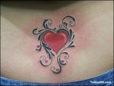 Lower Back Tattoo # 137 - Adorable heart tattoo covered with ...
