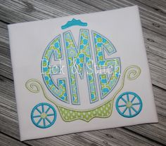 Princess Carriage Monogram Frame Applique Design Machine Embroidery INSTANT DOWNLOAD by pickandstitch on Etsy https://www.etsy.com/listing/186235784/princess-carriage-monogram-frame