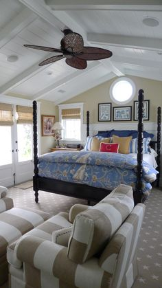 Master Bedroom in A Newport Beach coastal home.  Designed by Barclay Butera.