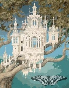 """High Altitude"" (beautiful fantasy Victorian tree house) - Daniel Merriam ) -- Thank you, Andrea O'Meara, for the artist's name! (Is the tree made out of Steele or something, say if not fantasy? Fairy Land, Fairy Tales, Fantasy World, Fantasy Art, Fantasy House, Fantasy Castle, Fantasy Fiction, Fantasy Story, Fairy Houses"