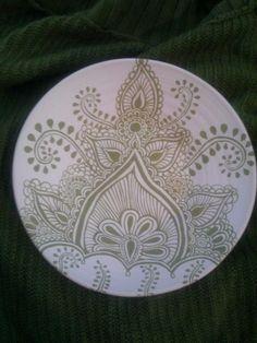 henna pattern on porcelain pottery