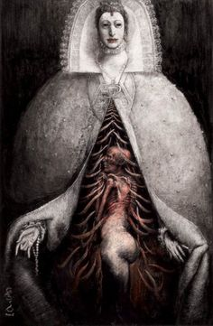 Illustration by Santiago Caruso. Arte Horror, Horror Art, Dark Fantasy Art, Dark Art, Arte Sci Fi, Macabre Art, Occult Art, Creepy Art, Scary