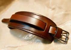 Leather cuff Bracelet brown handstitched custom crafted for YOU in NYC by…