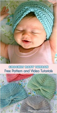 Häkeln Sie Baby Turban [Free Pattern and Video Tutorials] - Baby Diy - Stricken. - Häkeln Sie Baby Turban [Free Pattern and Video Tutorials] – Baby Diy – Stricken ist so einfach - Turban Crochet, Bonnet Crochet, Crochet Baby Beanie, Crochet Bebe, Baby Girl Crochet, Crochet Baby Clothes, Crochet For Kids, Simple Crochet, Crochet Baby Outfits