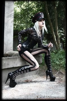 #Goth girl style with a piece of Industrial attitude to it