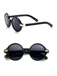 Elizabeth and James Metal Accented Round Plastic Sunglasses