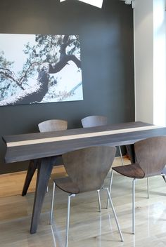 Be daring a #paint your dining room #walls #charcoal. #Tikkurila Interior paints can be tinted to any colour from any trade, retail or diy colour card, visit www.holmanpaints.co.uk