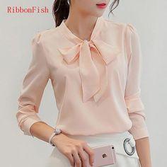 Office Wear Women Summer Chiffon Blouses Shirts Lady Girls Casual O-Neck Bow Tie Long Sleeve Tops Shirts Blusas DF1159
