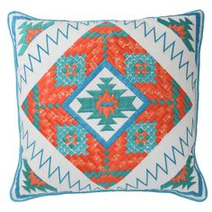 Blissliving Home Fiesta 18 by 18 inches Decorative Pillow, White