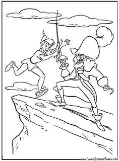 coloriage Peter pan et le capitaine Crochet combattent à l'épée