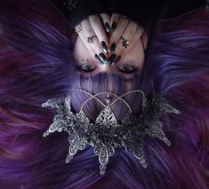High Elf looking magical in long purple locks - try our Pluto Pack for a similar style! Plum Purple Hair, Dark Violet Hair, Purple Makeup, Violet Aesthetic, Dark Purple Aesthetic, Witch Aesthetic, Mermaid Hair, Hair Designs, Tanzania