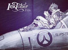 I am not prepared this year so i'm using last year's dying pens and markers. I'll shop when i don't feel so lazy anymore :p #inktober #inktober2016 #overwatch #tracer #slipstream #traditionalart #illustration
