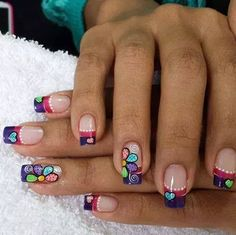 U% + decoradas + - + decoradas + uñas + 2016 +% × Cute Nails, Pretty Nails, Hair And Nails, My Nails, Nails First, Happy Nails, French Tip Nails, Manicure E Pedicure, Flower Nails