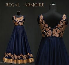 A Fabulous long gown from the inspiration glittery midnight roses . An outfit that is kissed by the midnight blue and embellished by the glittery roses to Enlighten you. Indian Wedding Gowns, Indian Dresses, Indian Outfits, Indian Fashion Trends, India Fashion, Designer Gowns, Indian Designer Wear, Indian Party Wear, Armoire
