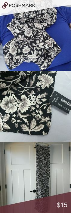 Casca 100% silk floral scarf 100% silk floral pattern in cream, charcoal and black.  Excellent condition. Casca Accessories Scarves & Wraps