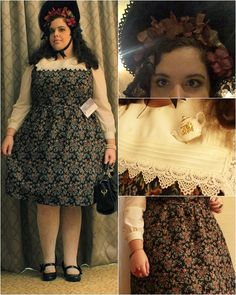 Autumn florals classic lolita coordinate I wore to the Tea Party. I decorated the bonnet myself!