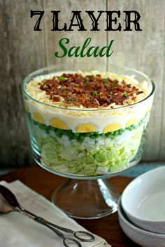 7 Layer Salad Easy 7 Layer Salad - The classic Southern that can be made in less than 15 minutes! Make it this or for your nextEasy 7 Layer Salad - The classic Southern that can be made in less than 15 minutes! How To Make Salad, Food To Make, Layered Salad With Peas, 7 Layered Salad Recipe, Layered Salads, 7 Layer Salad, Seven Layer Salad Dressing Recipe, Whole Food Recipes, Cooking Recipes