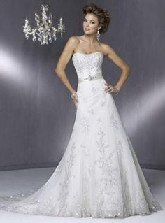 Princess Chapel Train Strapless Wedding Dresses Silver