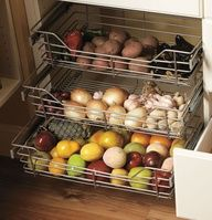 ✓Love this produce basket idea for the pantry! Good way to keep an eye on what you have!