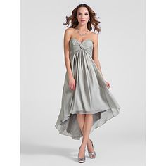 TS Couture® Cocktail Party Dress - High Low Plus Size / Petite A-line / Princess Strapless / Sweetheart Knee-length / Asymmetrical Chiffon – USD $ 85.49