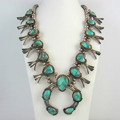 Vintage Navajo Sterling Silver Bisbee Turquoise Squash Blossom Necklace