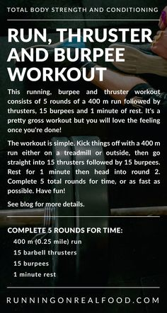 This running, burpee and thruster workout consists of 5 sets of 15 thrusters, 15 burpees and 1 minute rest. You'll need a barbell, weights and 30 minutes. Burpees, Crossfit Workouts At Home, Wod Workout, Workout Plans, Rowing Workout, Strength Workout, Fitness Tips, Health Fitness, Fitness Exercises