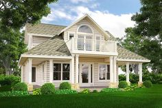 Plan Loft with Balcony is part of Cottage home Balconies A frontfacing balcony off the second floor loft gives a unique look to this Cottage home plan Wrapping around three sides of the home - House Plan With Loft, House With Balcony, Loft Plan, Porch And Balcony, Small House Plans, Bedroom Balcony, Balcony Ideas, Cottage Floor Plans, Cottage House Plans