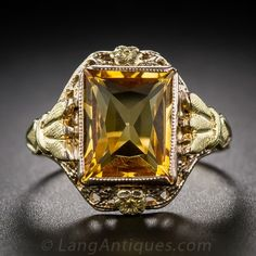 Art Deco Gold and Citrine Ring